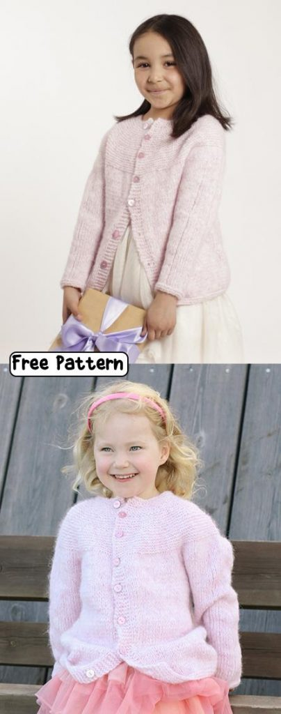 Free knitting pattern for an easy girls cardigan