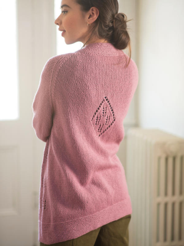 Free Cardigan Knitting Pattern with Eyelet and Diamond Back Pattern