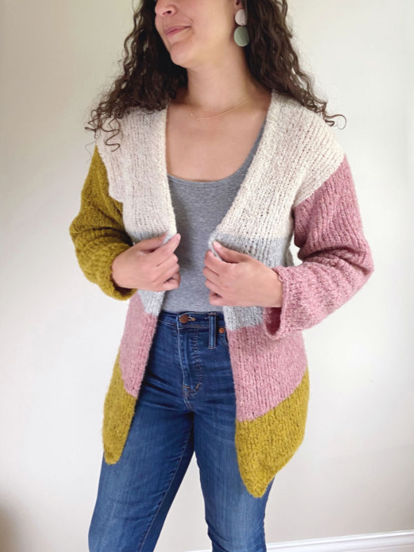 Free Knit Pattern for a Simple Colorblock Cardigan