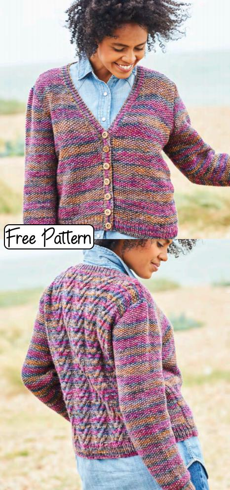 Free Knitting Pattern for a Cable and Seed Stitch Cardigan