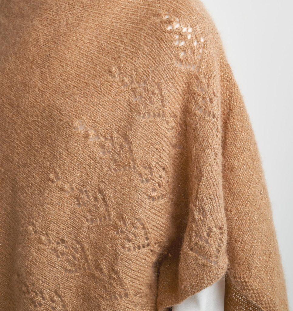 Free Knitting Pattern for a Lace Asymmetric Poncho