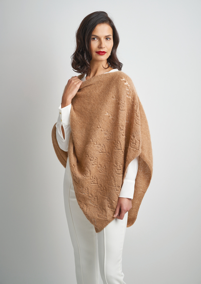 Free Knitting Pattern for a Lace Asymmetric Poncho
