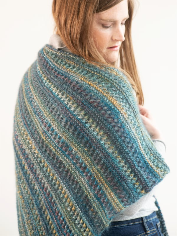 Free Knitting Pattern for a Striped Modern Shawl