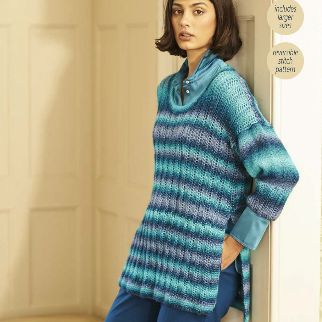Free Knitting Pattern for an Eyelet Variegated Ladies Sweater