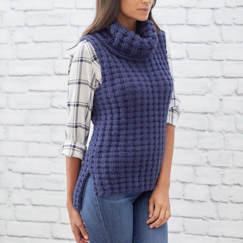 Free knit pattern for a cowl neck vest