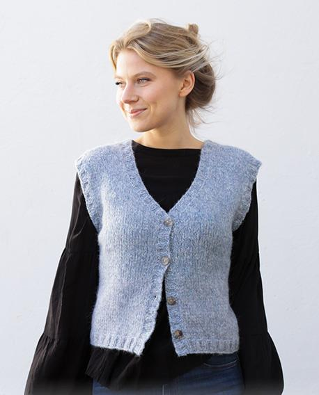 Free knitting pattern for a beginners vest for women