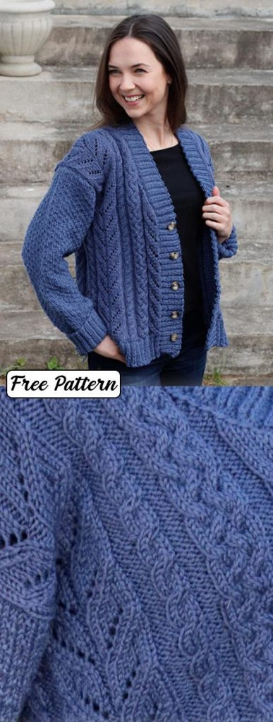 Free knitting pattern for a ladies cable and lace jacket