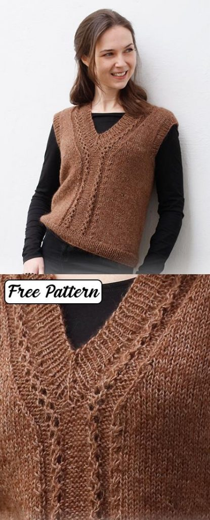Free knitting pattern for a ladies v neck lace vest