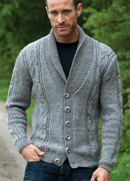 Shawl Collar and cable mans sweater knitting pattern