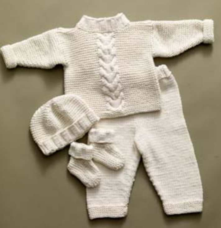 Free-Knitting-Pattern-for-a-Cabled-Baby-Set