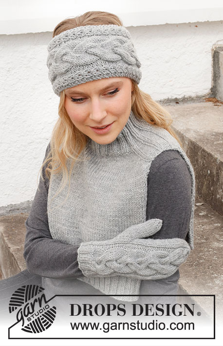Free knit pattern for a head band, neck warmer and mittens set worked with cables and increase for saddle shoulders
