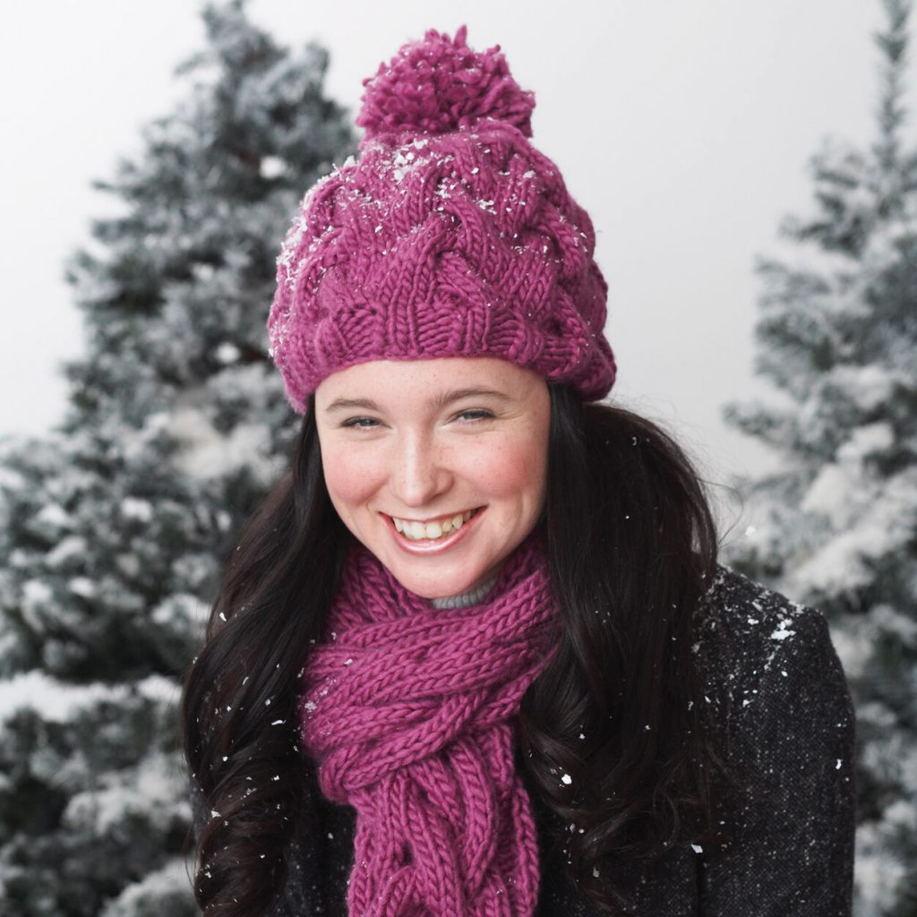 Free knitting pattern for a chunky cable hat and scarf set