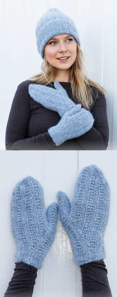 Free knitting pattern for a hat and mittens set