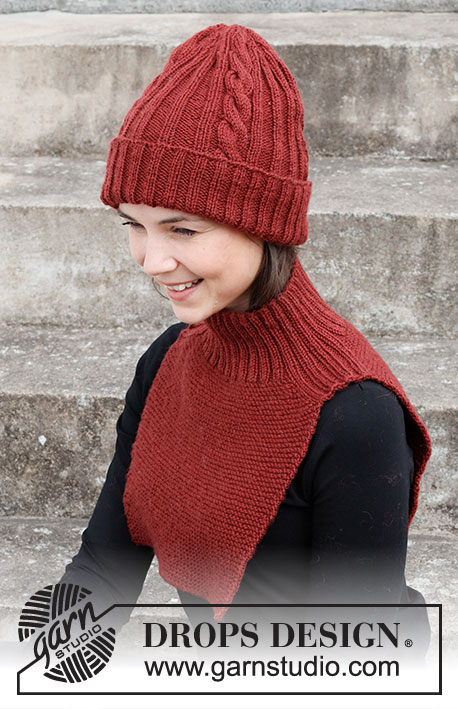 Free knitting pattern for a hat and neck warmer with rib and cables