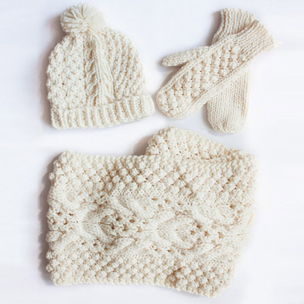Free knitting pattern for a lace and cabled beanie, mitts and cowls