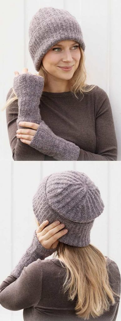 Free knitting pattern for an easy hat and wrist warmers