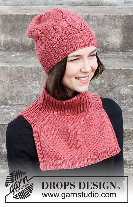 Free ladies accessory set knitting pattern with hat and neck warmer with saddle shoulder in a lace, cable and rib stitch