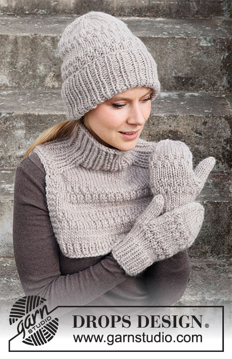 Free textured knitting pattern set for a hat, neck warmer with saddle shoulder and mittens