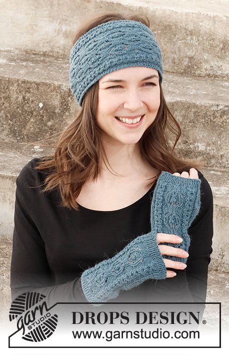 Knitted head band and wrist warmers set