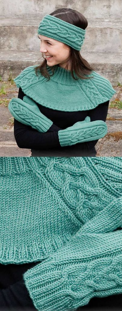 head band, neck warmer and mittens cable set free knit pattern