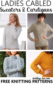 Free knitting patterns for women's pullovers with cables.