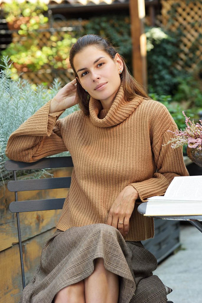 Free Knitting Pattern for a Ladies Turtleneck Sweater