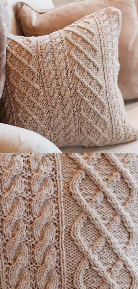 Free knit pattern for a cabled cushion