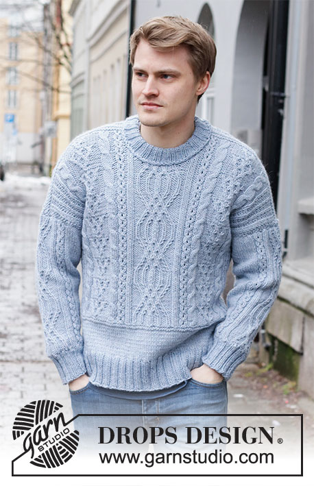 Free knitted sweater with cables for men