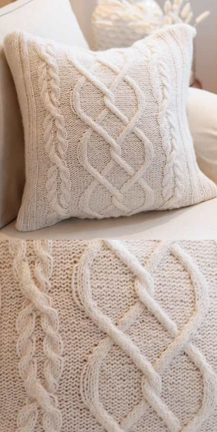 Free knitting pattern for a Celtic cable pillow