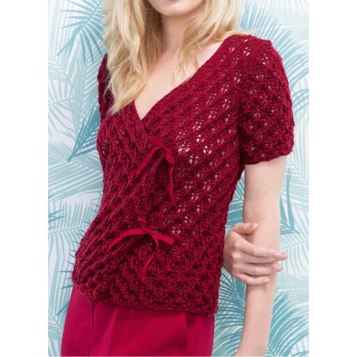 Free Knitting Pattern for a Lace Cross Over Top