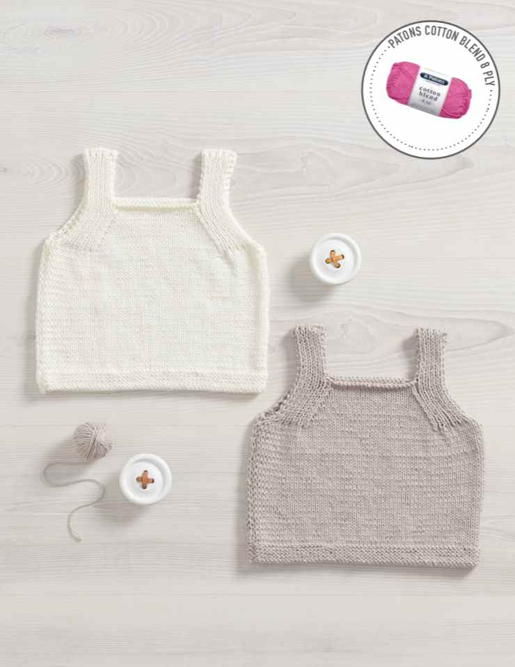 Free Knitting Pattern for an 8Ply Baby Vest