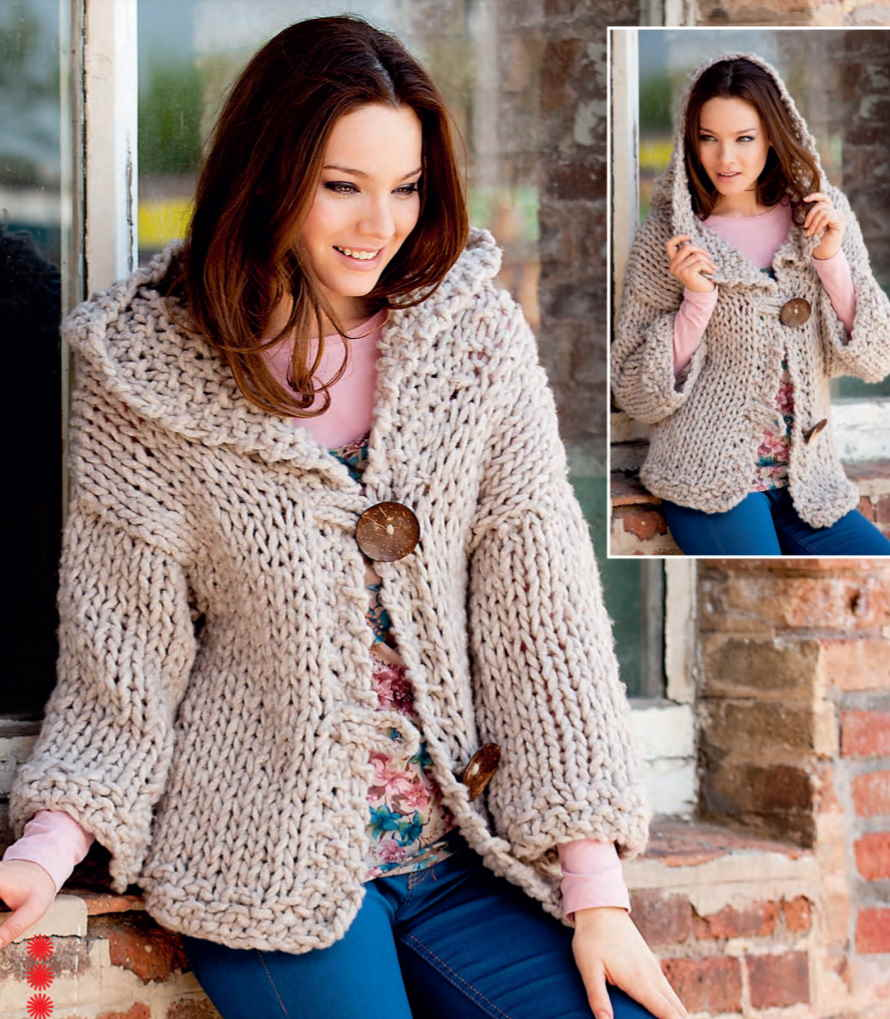 Free knitting pattern for a hooded bulky yarn jacket