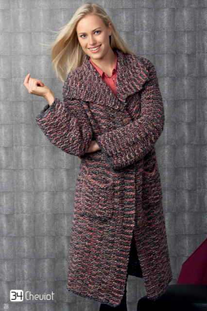 Free knitting pattern for a long oversized coat