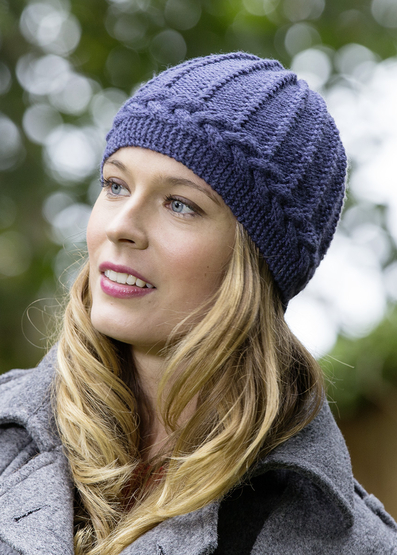 Hat and shawl with cable pattern set free knitting