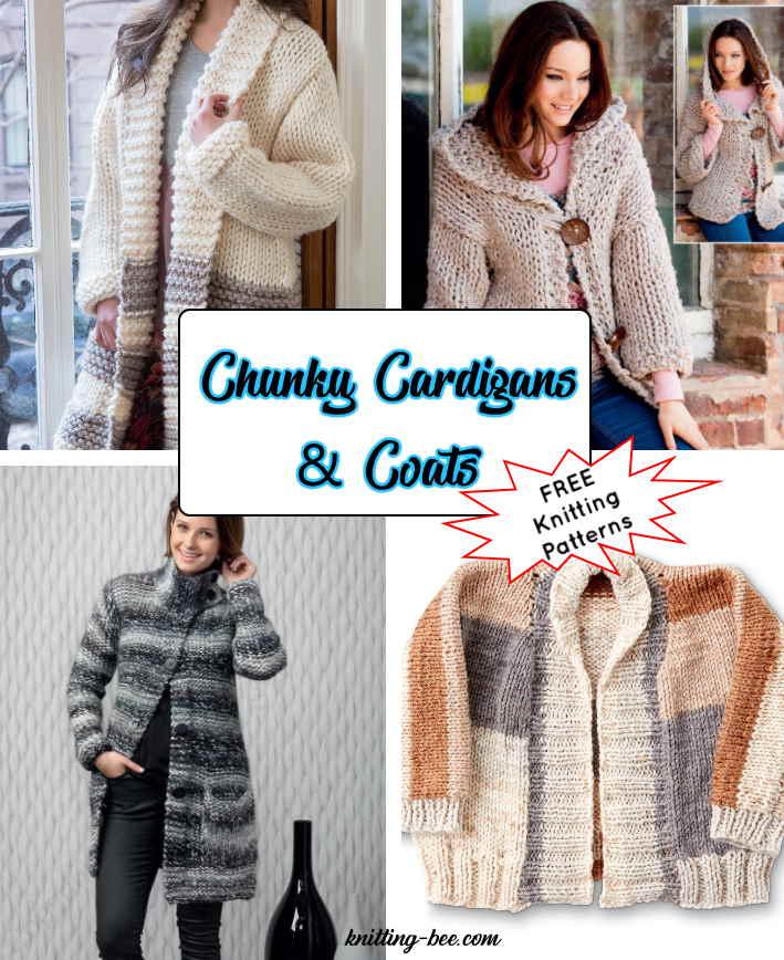 8 Ladies Chunky Cardigan Knitting Patterns Free