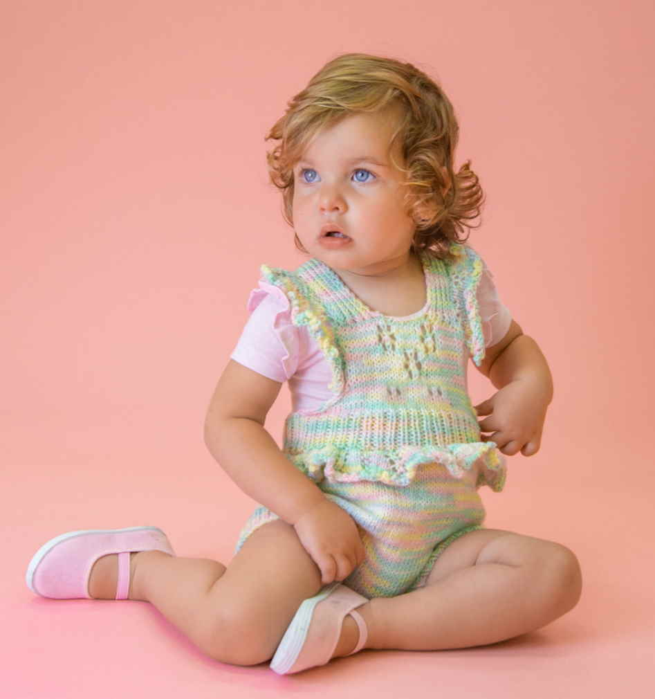 Free Knitting Pattern for a Baby Soft Romper with Optional Ruffles