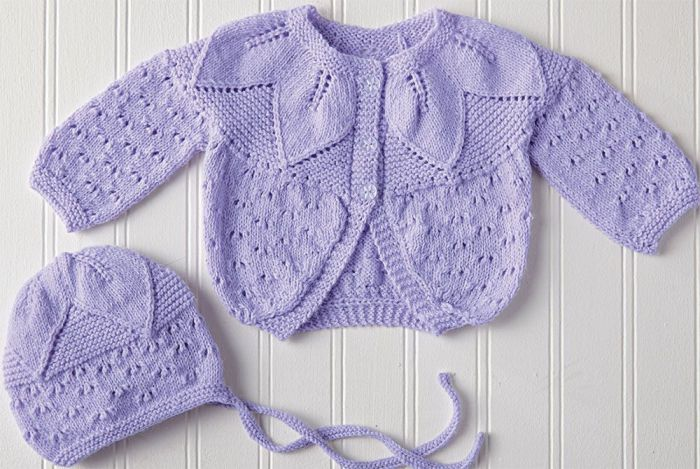 Free Baby Knitting Pattern for a Leaf Yoke Shrug & Hat