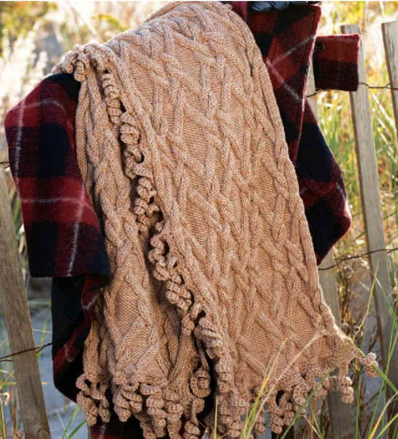 Free Knitting Pattern for a Cabled Twirl Wrap
