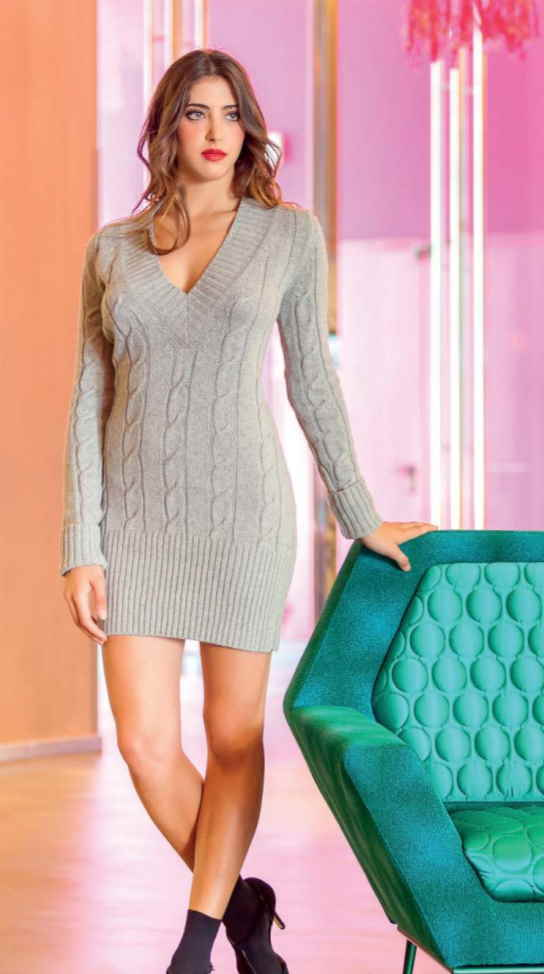 Free Knitting Pattern for a Fitted V-Neck and Cables Dress
