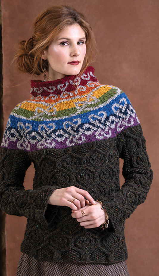 free knitting pattern for a cable and colorwork sweater for women