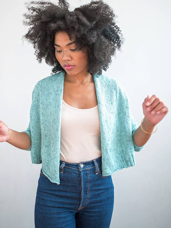 Free Knitting Pattern for Crop and Shawl Collar Cardigan