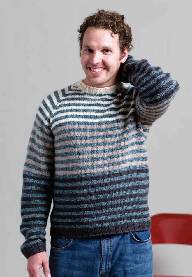Free Knitting Pattern for Men's Raglan Sweater stripes