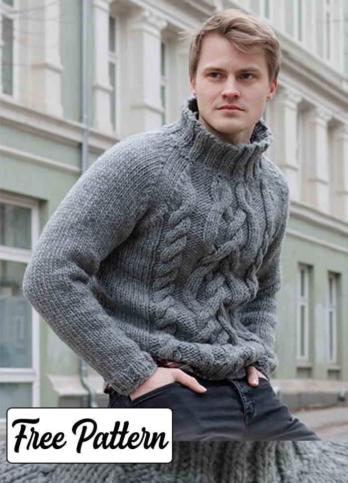 Free Knitting Pattern for Men's Raglan Sweater with cables