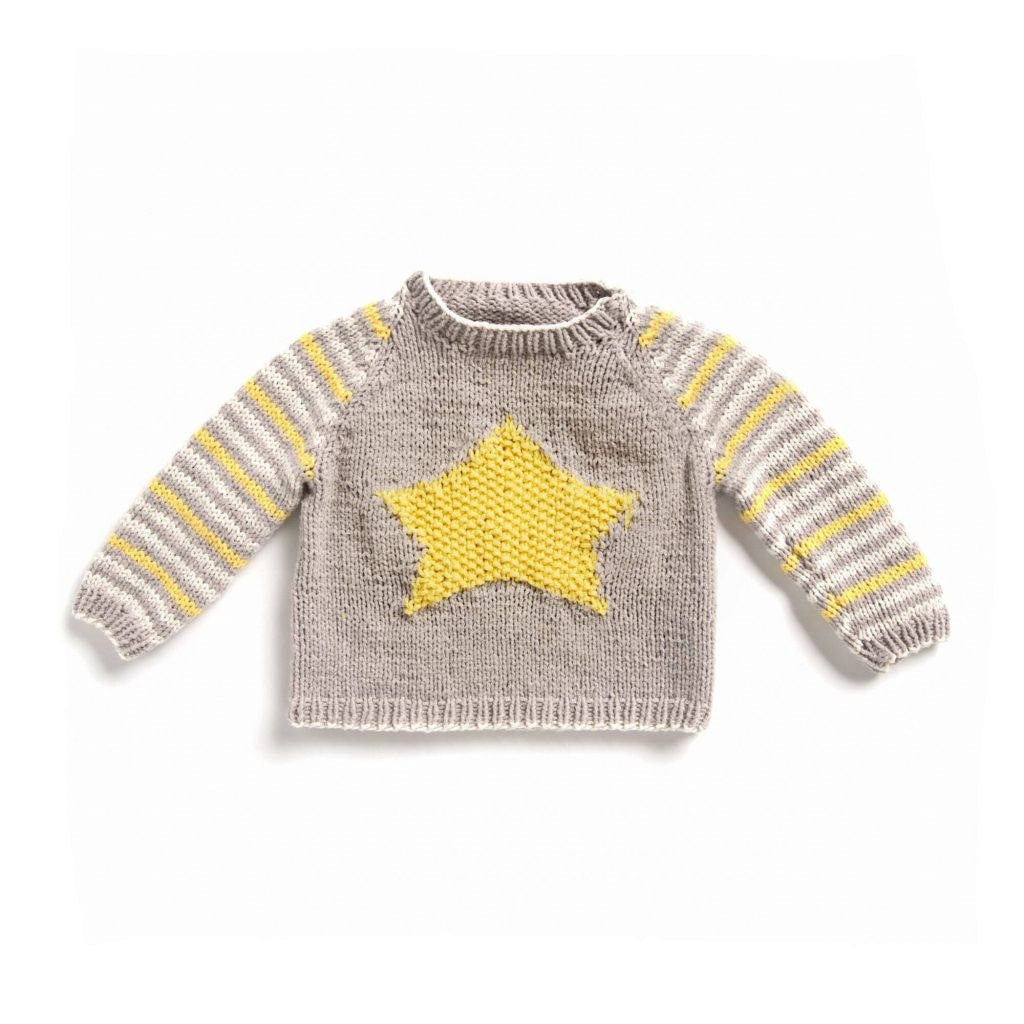 Free Knitting Pattern for a Baby Star Sweater