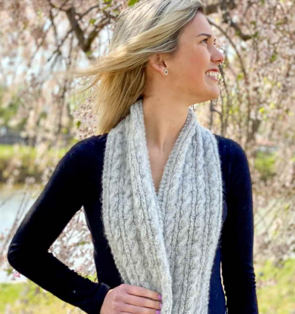 Free Knitting Pattern for a Cabled Avita Scarf