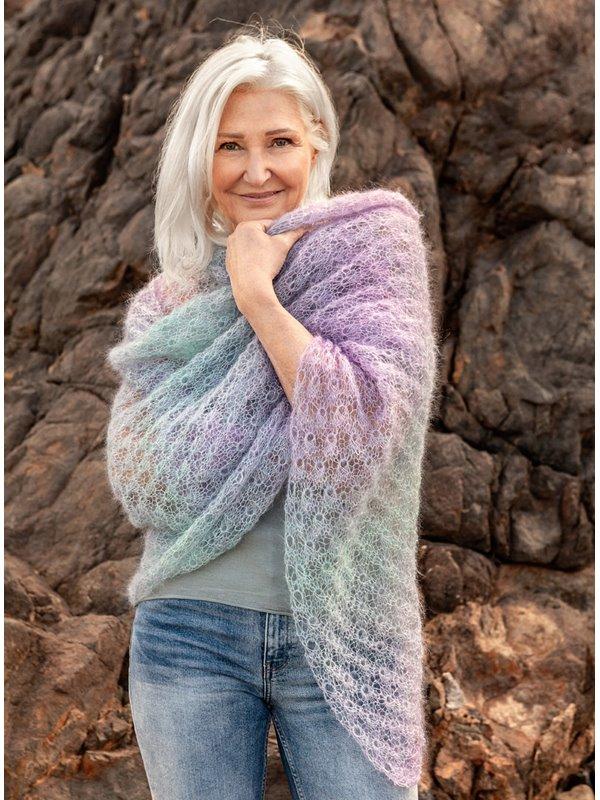 Free knitting pattern for a lace kid silk shawl