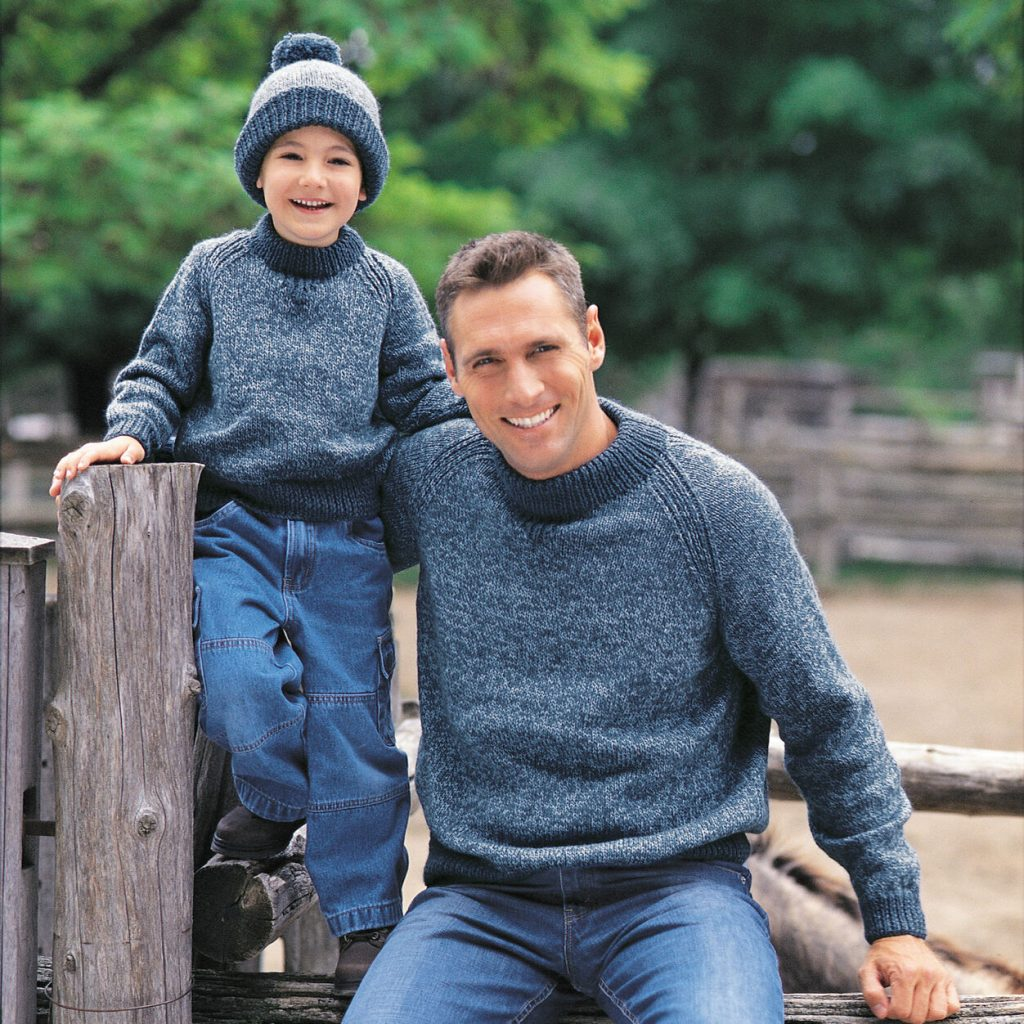 Free knitting pattern for a mens kids raglan sweater