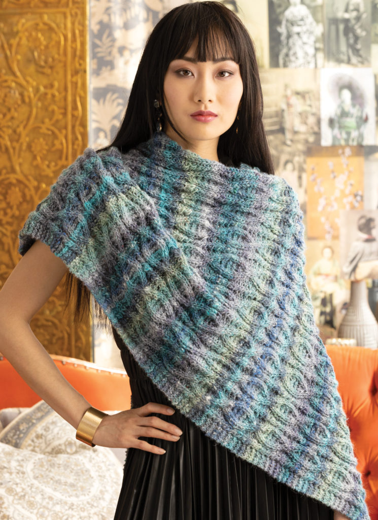 free knitting pattern for a cable shawl 2021