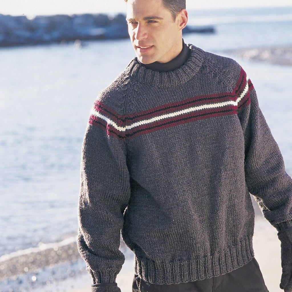 Free Knitting Pattern for Men's Raglan Sweater