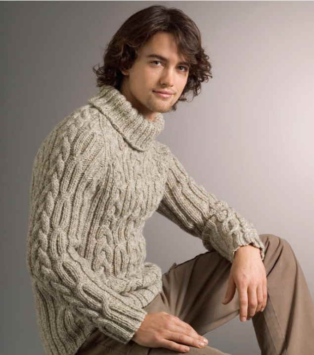 rib and cable raglan sweater free knitting pattern for men